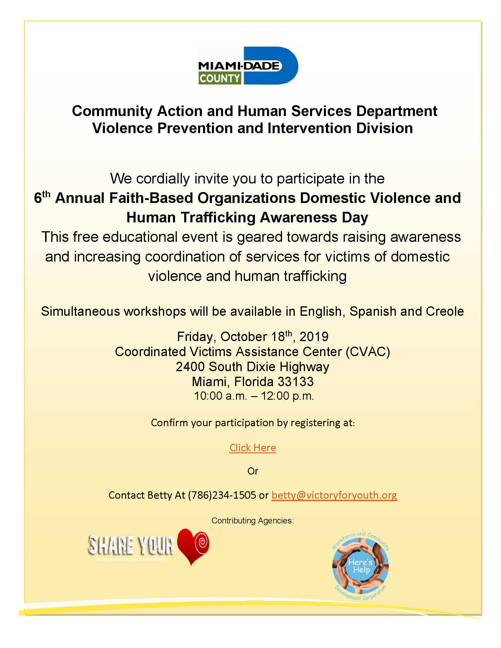6th Annual Faith-Based Event @ Coordinated Victims Assistance Center (CVAC) | Miami | Florida | United States